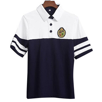 4098370c2 China Custom White and Navy Blue Cotton School Uniform Polo Shirts ...