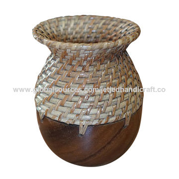 Wooden Flower Vase Made Of Acacia Wood And Round Core Rattan