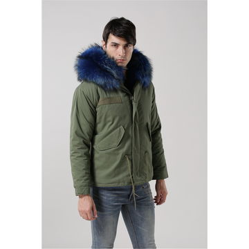 Men's raccoon hooded coats, fur lining, OEM orders are available