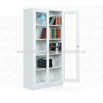 china white glass door bookcase cabinet office storage book file cabinet