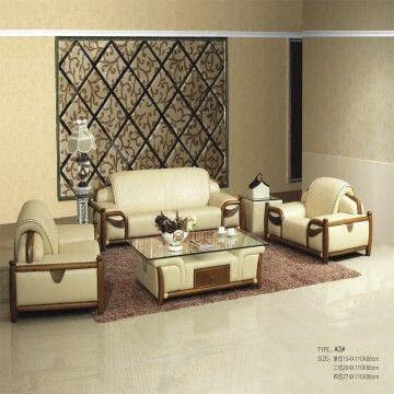 Classic Leather Sofa Set, with Wooden Coffee Table, American Style ...