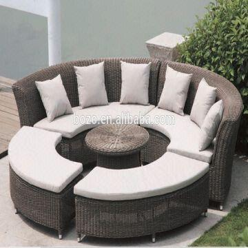 Outdoor Wicker Furniture Round Shaped Rattan Sectional Sofa Set 1