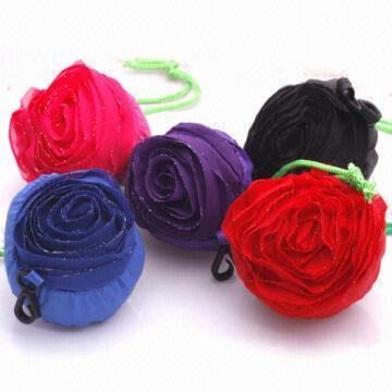 Hot Sale Fashion Rose Flower Sunflower Shopping Foldable Polyester Folding Bag