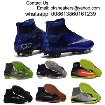 China Free shipping Mercurial Superfly CR7 indoor soccer shoes men women  kids high ankle football boots 8cecba873460