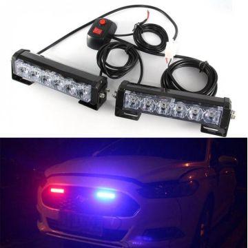 2x 6 Led Car Vechicle Strobe Flash Warning Light Hazard