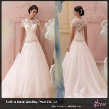 LJ1385 Ball Gown Short Sleeve Lace Wedding Dresses With Transparent ...