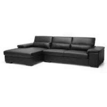 India Black Plastic Leather Tin L Shaped Sofa