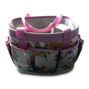 China Garden Tool Bag/Kit In Pink Flower Round Bag With Multiple Pouches,  Customized