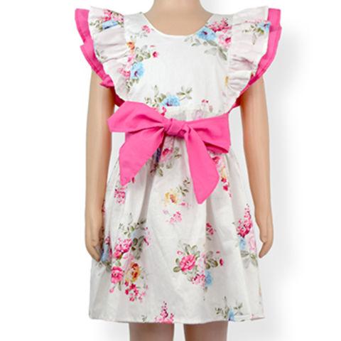 8b691c9753d9 China Spring Lovely Ladybug Pattern Printed Flutter Sleeve With Belt Model  Design Baby Girl Floral Dress ...