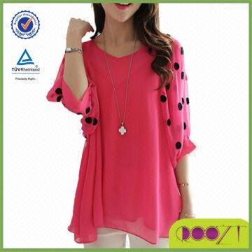 China 2014 hot sale sweet top design chiffon wholesale casual latest tops  designs girls. 2014 hot sale sweet top design chiffon wholesale casual latest
