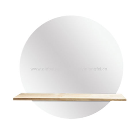 China Modern Fashion Bathroom Wall Mirror Wood Shelf Round Mirror On Global Sources