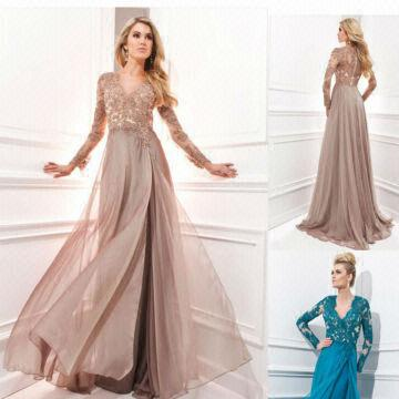 Full Long Sleeve Crystal Beaded V Neck Lace A Line Evening Dress