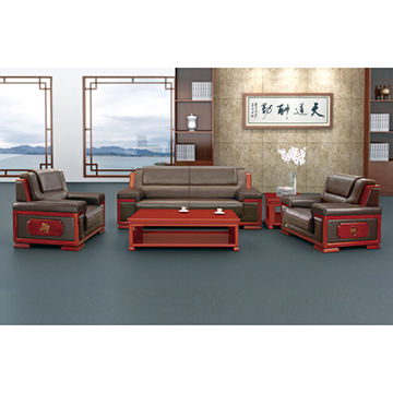 ... China 3 Seater PU Sofa Set For Sitting Reception