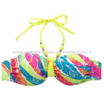 65ffe05cf9 ... China New Palm Print 1/2 Cup Bandeau Top Bikini Set with Neon Yellow  Ties