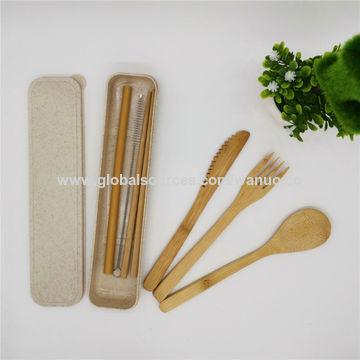Portable Wheat Straw Cutlery Travel Fork Chopsticks Spoon Camping Picnic Set GA