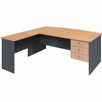 L Shaped Desk With 3 Drawers Hanging Pedestal, Melamine Faced Chipboard