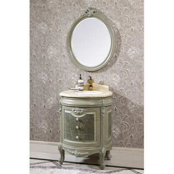 Antique Bathroom Cabinet With Ceramic Wash Basin Makeup Mirror And