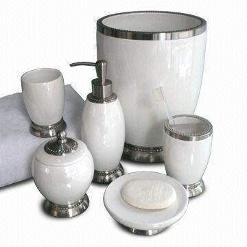 taiwan white ceramic metal bath accessoriesset includes lotion dispenser and soap dish