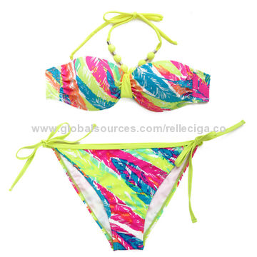 034c1e98a0 ... China New Palm Print 1/2 Cup Bandeau Top Bikini Set with Neon Yellow  Ties ...