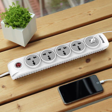 China Huntkey Child Protected 4-outlet Power Strip with Dual USB Ports (2.1 AMP / 10 Watt)