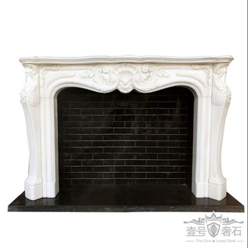 China Indoor Marble Carved Fireplace, Black Marble Fire Surround