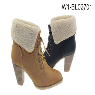 Minyo Fashion Lady Winter faux fur ankle boots with fleece fold ...