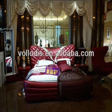 Adult sex furniture red butterfly design leather bed frame Erotic furniture