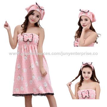 8b65bedea8 ... China Promotional Women Quickly Hair-Drying Cap bathrobes bath set ...
