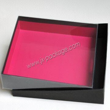 Cardboard Gift Packaging Shirt Box With Ps Clear Lid Jxab005