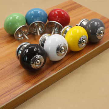 ... China Colorful Ceramic Cabinet Knobs With Chrome Plated Finish