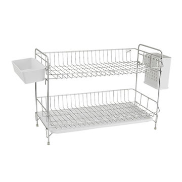 China Household Kitchen Stainless Steel 2 Tier Dish Rack With Utensil Holder Countertop Dish Drainer On Global Sources Kitchen Dish Racks 2 Tier Dish Rack Stainless Steel Dish Racks