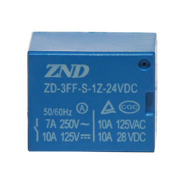 China 3FF/T73/7A/24V/4-pin Silver Contact PCB Relay