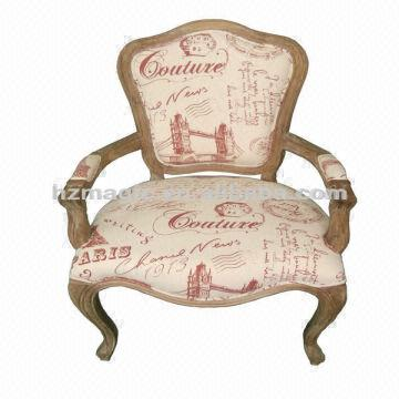 Superbe Linen Fabric China Upholstered Fabric Chair 1. French Style Wooden Chair 2.  Linen Fabric