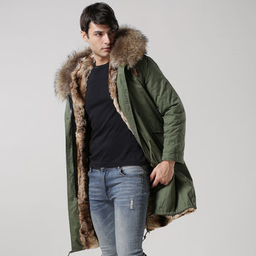 2016 men fur coat with real fur collar and faux fur lining ...