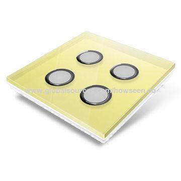 China Smart Home Wireless Light Switch, Yellow Glass Panel, 2-gang
