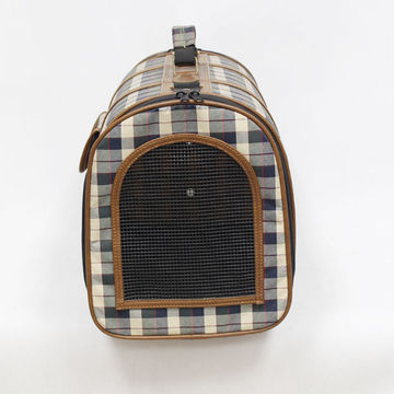 China Pet bag, OEM/ODM, made of woven checked fabric