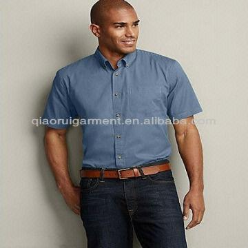 Men's relaxed fit solid color short sleeve signature shirts with ...