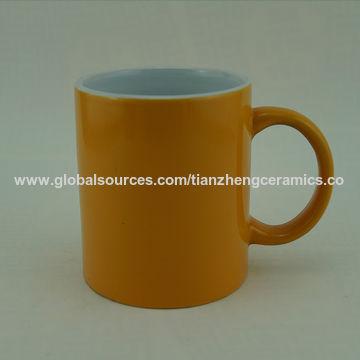China Ceramic mug with color glaze,outside blue color stoneware mug with decal.