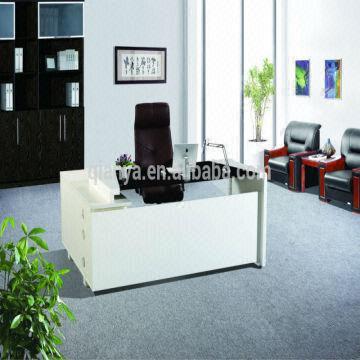 Mdf Table Frame Melamine Counter China 1 Modern New Design Gl Wooden Office Boss Desk Set 2