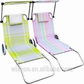 597e7cc7420 China 2014 New Design Folding Reclining Aluminium Canopy Beach Lounge Beach  Chair With Wheels