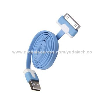 China Flat data cable for iPhone 4 cable with colors for choice customized printing acceptable