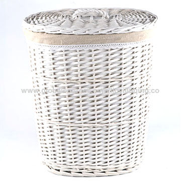 china round white wicker laundry basket with liner and lid