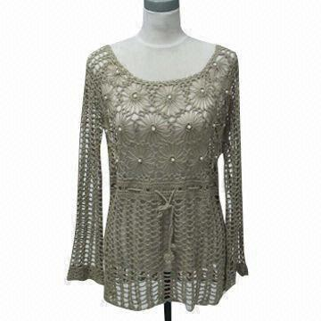 Womens Hand Crocheted Sweater Customized Colors And Sizes Are