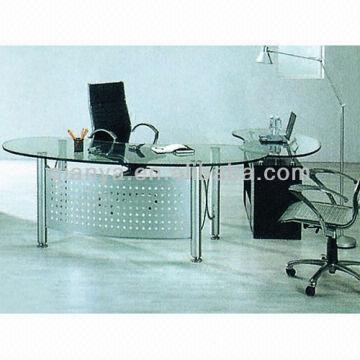 ... China 1.long Big Glass Topu0026steel Boss/office Table/desk Set 2.