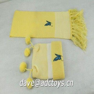 d08c7143 China 100% Acrylic Butterfly Embroidery Fashion Kids Winter Knitted Hat And  Scarf Set With Pompom