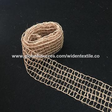 China Custom Jute Natural Wired Burlap Ribbon Printed Jute Webbing