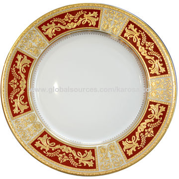 ... China Bone China Dinner Plate with High Embossed Gold Decal ...  sc 1 st  Global Sources & Bone China Dinner Plate with High Embossed Gold Decal | Global Sources
