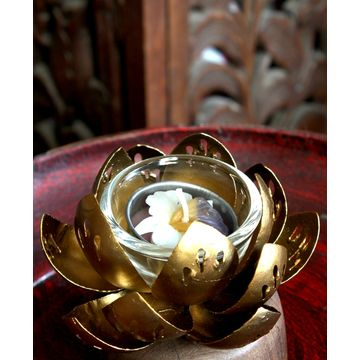 Candle Holder Lotus Flower Metal Product Handmade Design Thailand