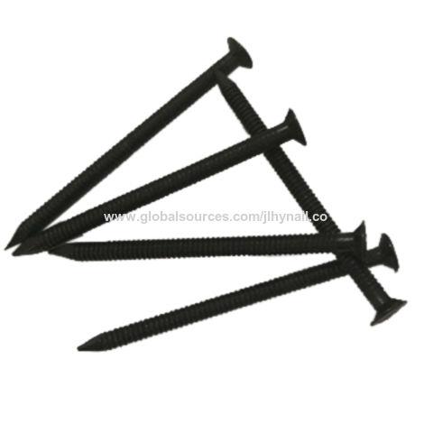 China Black ring shank nail with flat head ...