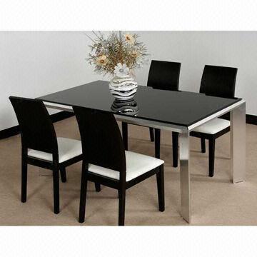 2013 Minimalist Design Fashionable Black Dining Table Made of